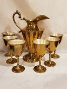 Vintage Large Beautiful Mexican Brass / Silver Pitcher And Goblet Set 7 Piece