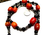 Beautiful Antique Chinese Natural Amber Wood Iron Beads Necklace