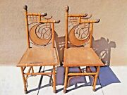 Antique 19th C Asian Chinese Or Japanese Hand Made Bamboo 2 Chairs Museum Items