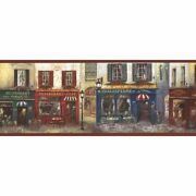 French Street Store Fronts Scene Wallpaper Border Aw77390
