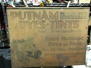 Antique Putnam Dyes Tints Display Wood Tin Cabinet 130+ Dye And Tint Packets