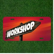 Custom Personalized License Plate Auto Tag With Workshop On Wooden Post Design