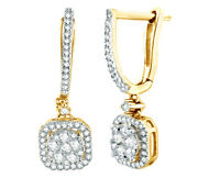0.5 Ct White Natural Diamond Frame Cluster Drop Earrings In 10k Yellow Gold