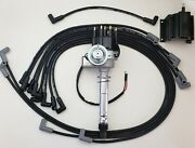 Chevy 327 350 Small Black Hei Distributor + 8.5mm Wires Under Exhaust + 50k Coil
