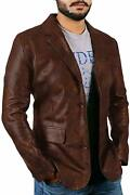 Mens Leather Blazer Coat Classic Vintage Jacket Real Leather Distressed Brown