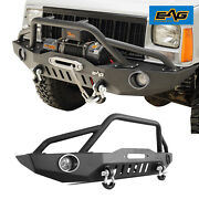 Eag Front Bumper W/ Led Lights And Winch Plate Fit 84-01 Jeep Cherokee Xj
