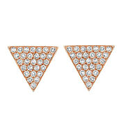 1/5 Ct Round Cut Simulated Solid 14k Rose Gold Triangle Stud Earrings