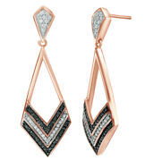0.25 Ct Black And White Natural Diamond Chevron Drop Earrings In 10k Rose Gold