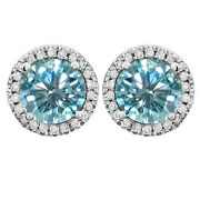 Light Blue Moissanite 5.75 Ct Round Sterling Silver Round Halo Stud Earrings