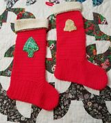 Handmade Pair Of Vintage Christmas Stockings Glitter Accents Kitschy