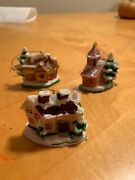 Lot Of 3 Christmas Ornaments Russ Berrie Village Houses Z7
