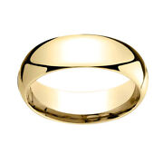 14k Yellow Gold 7mm Slightly Domed Super Light Comfort Fit Band Ring Sz 11