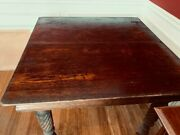 Antique Square Wooden Dining Table With 5 Legs. Needs Tender Love And Care