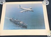 Vintage Uss Arcadia Ad-23 And Us Navy P-3a Orion Print