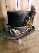 Steampunk Beaver Skin Top Hat Original Goggles Antique Clock Gears And Feather