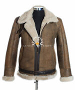 Raf Rust Brown Menand039s New Shearling Sheepskin B3 Ww2 Bomber Leather Flying Jacket