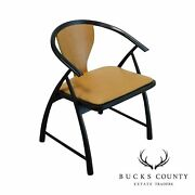 Mid Century Modern Leather Seat Ebonized Armchair Attributed To Tommi Parzinger