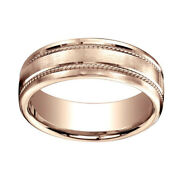 7.5mm Comfort Fit Satin Finish Rope Carved 14k Rose Gold Band Ring Sz 6