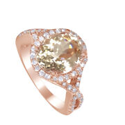 8x10mm Oval Cut Morganite 0.4ct Diamonds 14k Rose Gold Engagement Ring Promise
