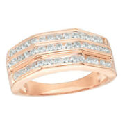 Menand039s 1/2 Ct Natural Diamond Wedding Band In 10k Rose Gold