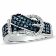 1/2 Ct Enhanced Blue And White Real Diamond Belt Buckle Ring In 10k White Gold