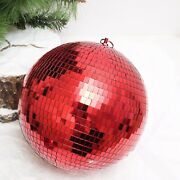Red 16 Wide Glass Mirror Disco Ball Ornament Party Wedding Home Decorations