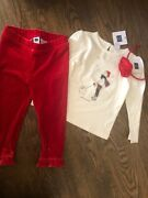 Nwt Janie And Jack Girl Holiday Red Velour Pants 3-piece Bow Set 6 9 12 18 24