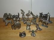 Lot Of 17 Markedunmarked Miniature Pewter Animalsclownsother Figurines