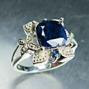 3.4ct Natural Solid Dark Blue Sapphire Silver Gold Platinum Ring All Size