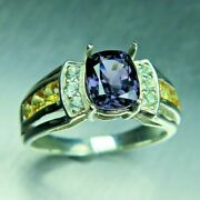 1.40cts Natural Dark Purple Spinel 925 Silver / Gold Platinum Engagement Ring