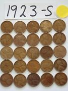 1923-s Cent Half Roll Solid Date =25 Lincoln Wheat Pennies 8 Or More Ship Free