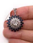 18k White Gold 3.2ct Natural Marquise Sapphire And Diamond Wide Cluster Pendant