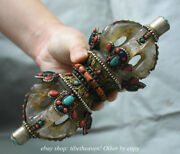 8 Collect Antiquity Tibetan Crystal Silver Jewel Dorje Vajra Bell And Holder