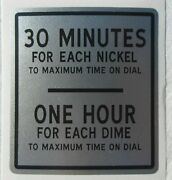 Duncan 50 Parking Meter Plate Decal - 30 Minutes For A Nickel 1 Hour For A Dime