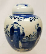Antique Chinese Underglaze Blue And White Ginger Jar Tea Caddy Figures Qing