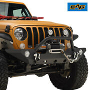 Eag Front Bumper With Fog Light Hole And Winch Plate For 18-21 Jeep Wrangler Jl