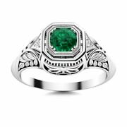 Antique Vintage 0.42 Carat Natural Green Emerald And Diamond Ring 14k White Gold