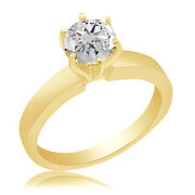 0.38 Ct Simulated Round Cut 14k Yellow Gold Solitaire Engagement Ring