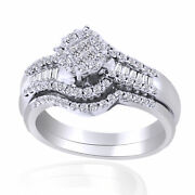 0.64ct Round Cut Simulated Diamond In 14k White Gold Engagement Ring Bridal Set