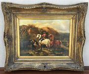 """19th European Oil On Board """"changing The Plow Horse"""" Genre Painting, Daily Work"""