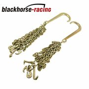 5/16and039and039x10and039 J Hook G70 Tow Chain 10 Feet Shank W/ R T J And Grab Hook Gold X2