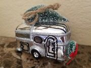 New Pottery Barn Blown Glass Silver Airstream Camper Christmas Ornament