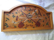 Welcome To The Garden Folk Art Hand Painted Wood Sign / Tray / Table Top - Bird