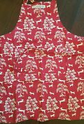 New Williams Sonoma Red Christmas Holiday Prancing Reindeer Apron