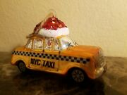 New Pottery Barn Blown Glass Nyc New York City Taxi Cab Christmas Ornament