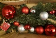 New Pottery Barn 5 Ft Red Silver Ornament Pine Christmas Garland