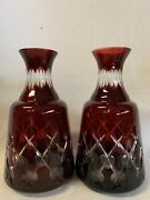 Antique Bohemian Ruby Cut To Clear Glass Crystal Pair Vases