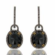 11.02 Ct Black Roung And Brown Diamond 18k Gold And Sterling Drop Hoop Earrings