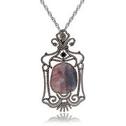19.27 Ct Slice Sapphire And Diamond 18k Gold And Sterling Pendant With 18 Chain