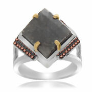 Heavy 9.36 Ct Black Rough And Red Diamond 18k Gold And Sterling Cocktail Ring Size 7